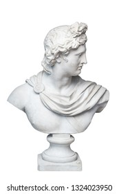 God Apollo bust sculpture. Ancient Greek god of Sun and Poetry Plaster copy of a marble statue isolated on white.