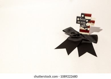 God Bless America Cross with black ribbon
