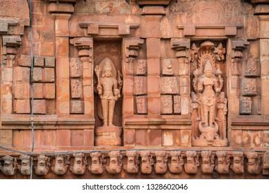 God Carved statue at Brihadeeswara Temple or Big Temple in Thanjavur, Tamil Nadu - South India