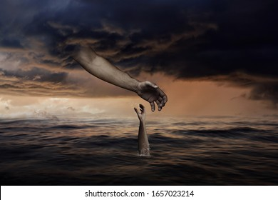 God Hand from Sky is Reaching Towards Man Hand that is Sinking Down in Ocean-Christian concept