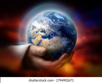 God holding the earth conceptual theme - Shutterstock ID 1794902671