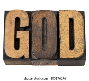 God - isolated word in vintage letterpress wood type