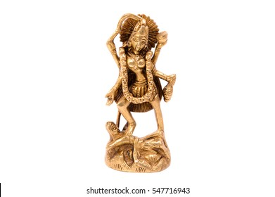 God Kali of metal on a white background