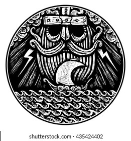 God is Odin storm sea and Drakkar . Illustration of a circle