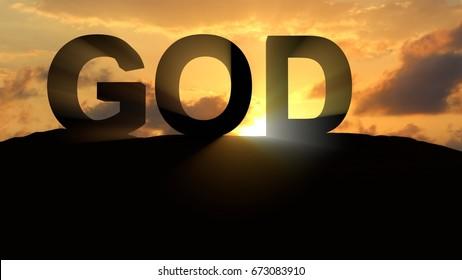 God on Sunset Landscape 3d rendering