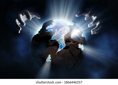 God rebuilding the old sickly earth into a new healthy world. God healing the earth conceptual theme - Shutterstock ID 1866446257