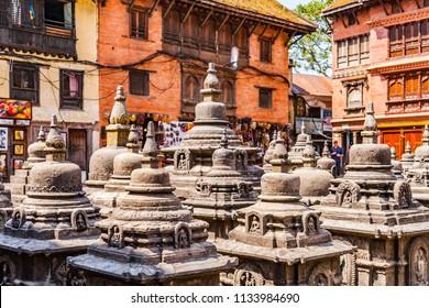 God stupas in Swayambhunath temple in Kathmandu, Nepal.