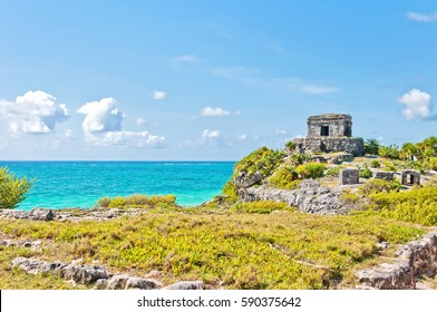 God of Winds Temple guarding Tulum's sea entrance bay in Quintana Roo, Mexico