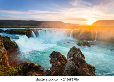 Godafoss, amazing waterfall in Iceland at sunset. outdoor scenics