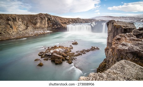 Godafoss falls in winter, Iceland