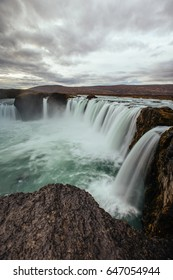 Godafoss, Iceland - Long exposure of water flowing over the falls.