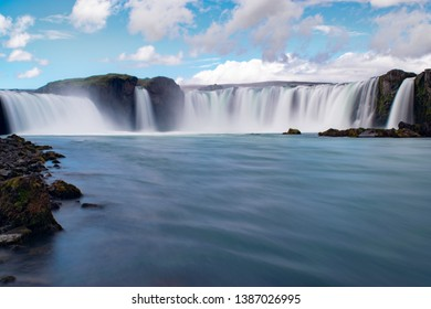 Godafoss Iceland waterfall with smooth water