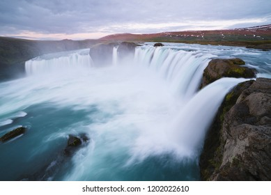 Godafoss - one of the Iceland waterfalls. Natural and tourist attraction