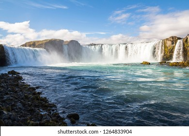 Godafoss panorama from below the waterfall, Iceland