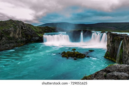 The Godafoss or waterfall of the gods is a waterfall in Iceland. The water of the river Skjalfandafljot falls from a height of 12 meters over a width of 30 meters./ Godafoss waterfalls/2017