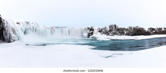 Godafoss Waterfall in Iceland on a cold winter day