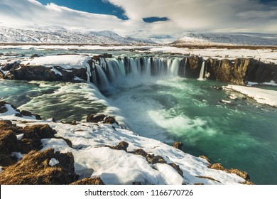 Godafoss waterfall in iceland winter on sunny day