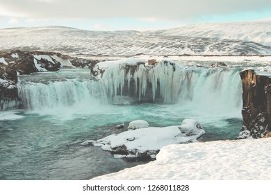 Godafoss waterfall - One of the most powerful waterfalls in Europe. Winter landscape. Iceland