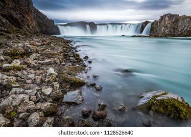Godafoss Waterfall.  Skjalfandafljot river, Iceland, Europe.