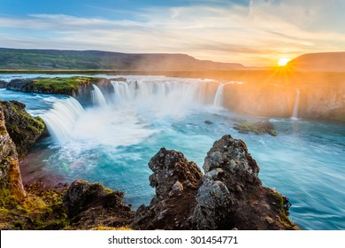 Godafoss waterfall at sunset, Iceland, Europe