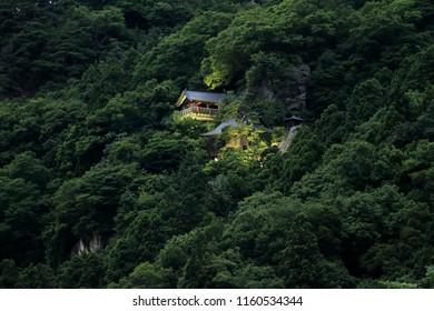 Godai hall and founder's hall of Risshaku ji (Yamadera) in Yamagata, Japan (night scene)