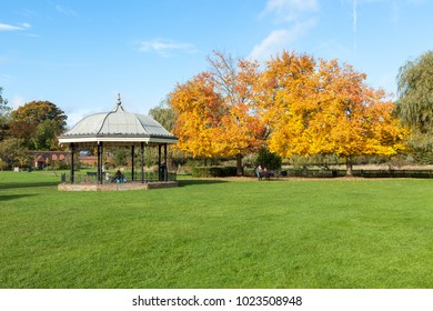 Godalming, United Kingdom - October 27, 2016: The Bandstand in Godalming with an autumnal tree.