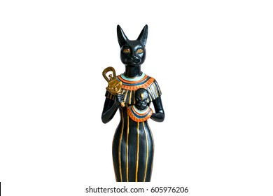 The Goddess Bastet - Role in ancient Egypt on white background. Bastet was a goddess in ancient Egyptian religion.