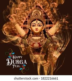 Goddess Durga Face in Happy Durga Puja Subh Navratri Maa background