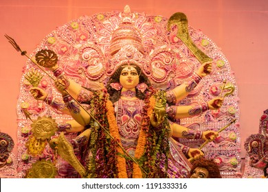 Goddess Durga idol at decorated Durga Puja pandal, at Kolkata, West Bengal, India. Durga Puja is biggest religious festival of Hinduism and is now celebrated worldwide.