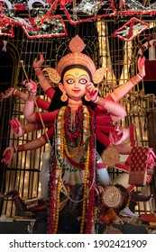 Goddess Durga idol decorated at puja pandal in Kolkata, West Bengal, India. Durga Puja is biggest religious festival of Hinduism and is now celebrated worldwide.
