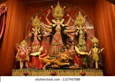Goddess Durga: Durga Puja is the one of the most famous festival celebrated in Assam, INDIA ASSAM, INDIA: Durga Puja festival celebration, Assam, India