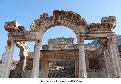 Goddess of Fortune and Medusa Visible at the Temple of Hadrian, Ephesus, Turkey