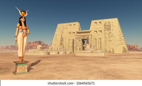Goddess Hathor and temple of Edfu  Computer generated 3D illustration