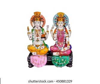 Goddess Lakshmi and Lord Ganesh isolated on white background.