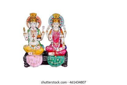Goddess Lakshmi and Lord Ganesh isolated on white background , copy space on photo for document.