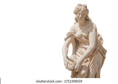 The goddess of love and beauty in Greek mythology, Aphrodite (Venus in Roman mythology) Fragment of ancient stone statue isolated on white background.