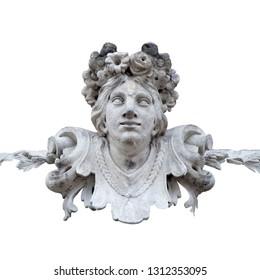 The goddess of love in Greek mythology, Aphrodite (Venus in Roman mythology) Fragment of ancient stone statue isolated on white background.