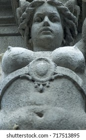 The goddess of love in Greek mythology, Aphrodite (Venus in Roman mythology) Fragment of ancient statue.