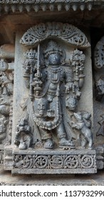 Goddess Mata Kali at Lakshmi Narasimha Temple, Nuggehalli, Hassan District of Karnataka state, India. The temple was built in 1246 CE rule of Hoysala Empire.