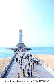 goddess of mercy statue at seaside in nanshan temple, hainan island ,nanshan temple is a famous tourist destination in sanya,hainan province,china.