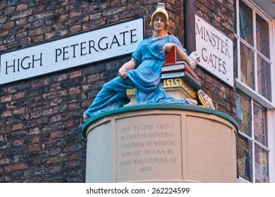 Goddess of Wisdom Figure York England at High Petergate and Minster Gates Streets