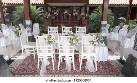 Godean, Sleman Yogyakarta, Indonesia. January 28, 2021. The tables and chairs are white, and they look very beautiful and decorated