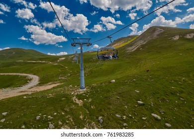 GODERDZI, ADJARA REGION, GEORGIA - 08 AUGUST 2017: New Cableway over majestic Adjaran mountain landscapes near Khulo village