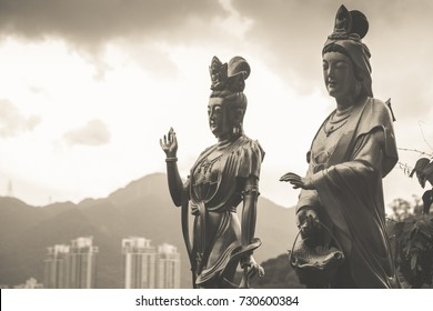 Godess Statue above a City