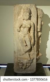 Godess Sursundari carvings on Stone at City Palace,Udaipur,Rajasthan,India,Asia on 20th November2018
