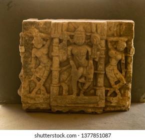 Godess Vaishnavi carvings on Stone at City Palace,Udaipur,Rajasthan,India,Asia  on 20th November2018