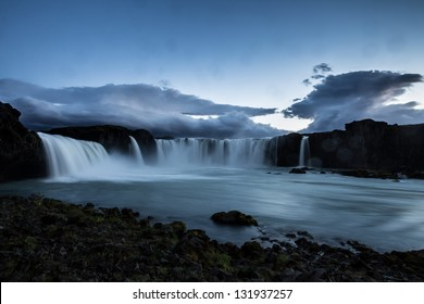 godfoss waterfall in iceland by night