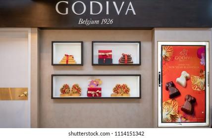 Godiva shop at Mega Bangna, Bangkok, Thailand, Apr 12, 2018 : Belgium chocolate shop window display. Premium retail store with modern interior in shopping center.