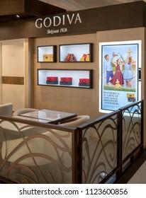 Godiva shopat Mega Bangna, Bangkok, Thailand, Jun 2, 2018 : Belgium chocolate shop window display. Premium retail store with modern café interior in shopping center.