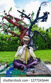 Godollo, Hungary - July 3, 2018: Creative installation in Elizabethan Park near the Royal Palace.